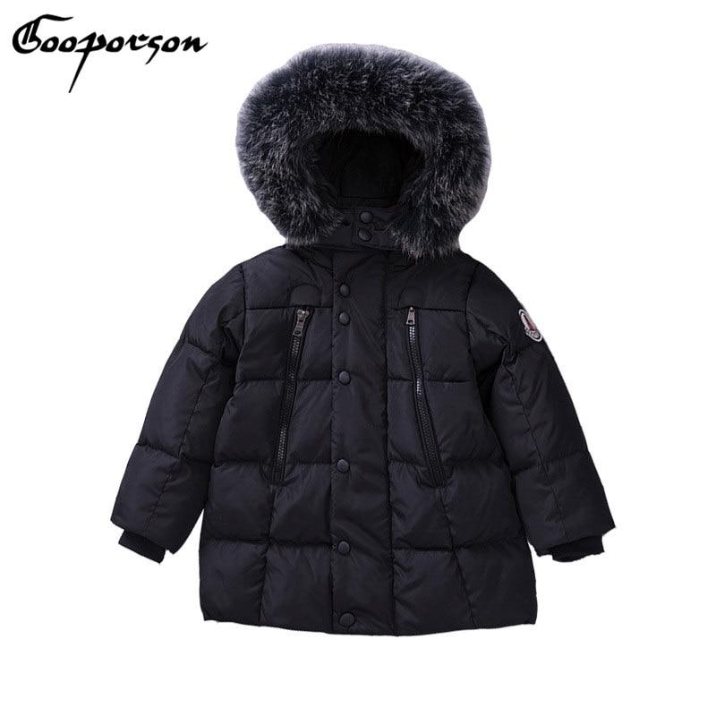 где купить GOOPORSON Kids Boy Snowwear Thick Warm Winter Hooded Jakcets Girls Parkas With Further Outerwear Coat Children Clothes по лучшей цене