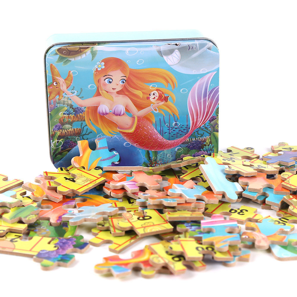 60 Slice Small Piece Puzzle Toy Children Princess Car Cartoon Wooden Jigsaw Puzzles Kids Educational Toys For Baby Birthday Gift