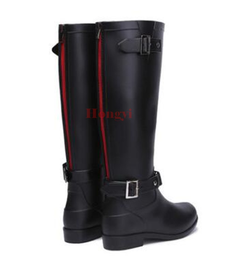 Spring Rainboots Women Knee High Rubber Buckle Boots Ladies Fashion Rain Shoes Woman Waterproof Wellies Plus Size 36-41 free drop shipping new vogue adult women fashion rainboots pvc rain shoes buckle water rubber boots wellies bargin price black