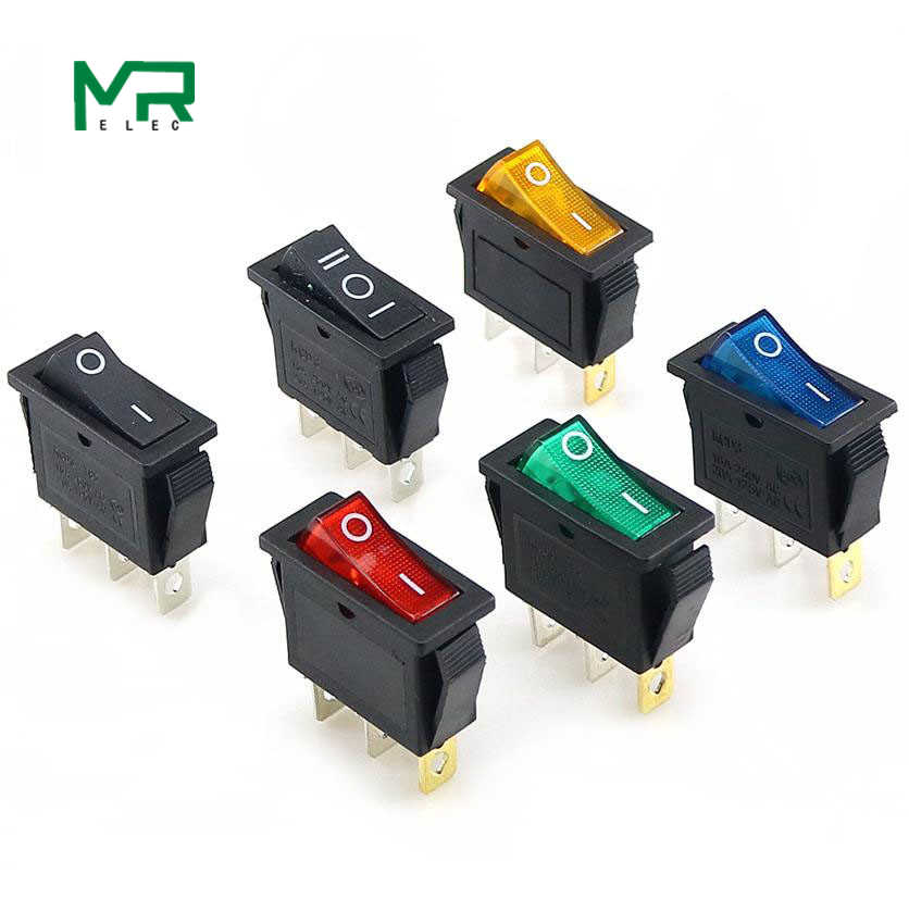 KCD3 Rocker Switch On-Off 2 Posisi 3 Pin Peralatan dengan Lampu Saklar Daya 16A 250VAC/ 20A 125VAC 35 Mm X 31 Mm X 14 Mm