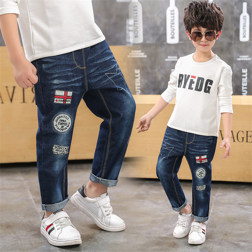 4-12 y kids pants jean for boy fashion denim pants boys elastic waist jeans 8 10 years old children clothes trousers On Sales(China)