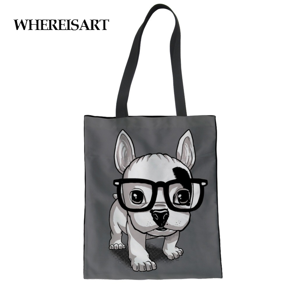 WHEREISART Women Canvas Bags Eco Friendly Ladies Shopping Tote Beach Casual Totes French Bulldog Design Painting Bags For Girls