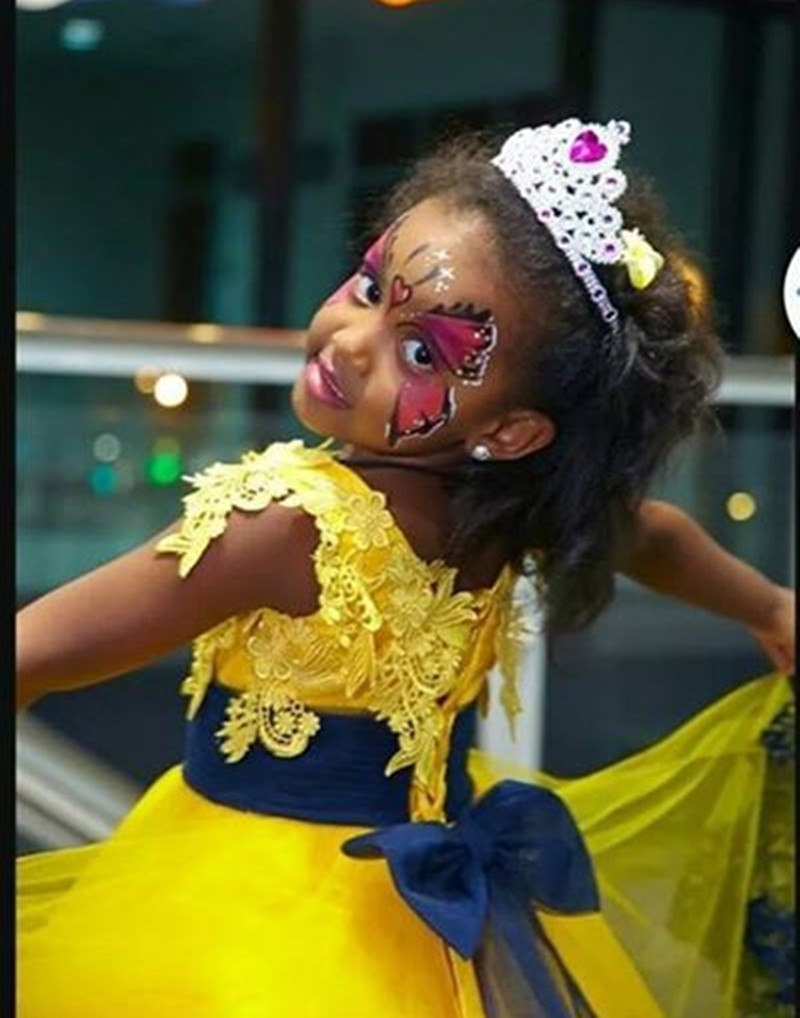 Flower Girl Dress Floor Length Navy Blue Appliques Yellow Tulle A