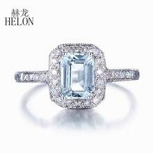 HELON Solid 18 К белого золота 1.43CT Природные Аквамарин бриллиантовое Обручение кольцо для Для женщин свадебные ар-деко Мода Fine Jewelry Кольцо