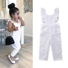 Милая детская одежда для маленьких девочек; летний хлопковый комбинезон без рукавов с рюшами; комбинезон с квадратным вырезом на спине