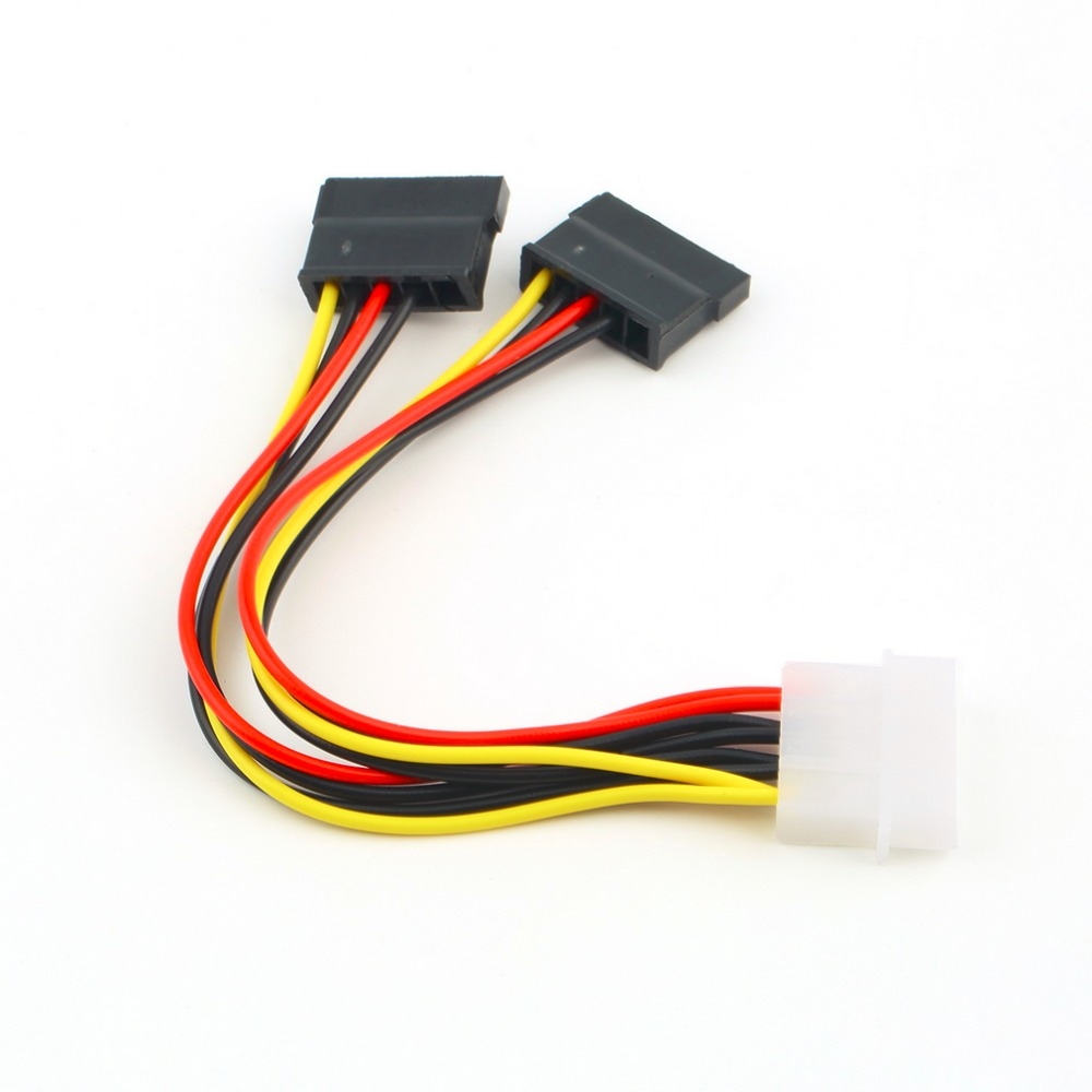 HOT SALE! 4 Pin IDE Molex to 2 of 15 Pin Serial ATA SATA HDD Power Adapter Cable New Y Splitter Dual Hard Drive Cable