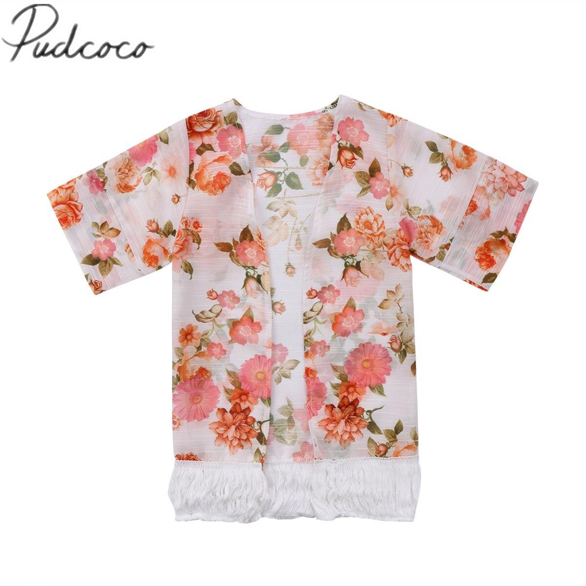 Детская одежда для девочек с цветочным принтом на лето и весну пляжные Верхняя одежда модная куртка Новый