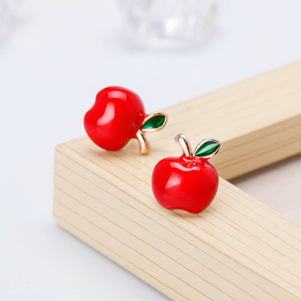 Romantic Cute Small Red Peach Heart Stud Earrings for Women Girls Kids Jewelry Lover Gift