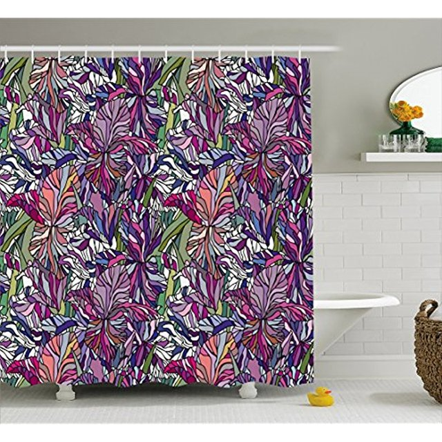 Vixm Floral Shower Curtain Tropical Jungle Rainforest Artistic Abstraction Narcissus Iris Vintage Nature Fabric Bath Curtains