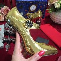 Женские туфли на высоком каблуке, украшенные кристаллами, Брендовые женские туфли лодочки золотистого цвета из кожи с пряжкой, свадебные ту