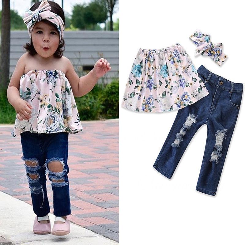 3PCS Set Toddler Kids Girls Off shoulder Floral Tops ...
