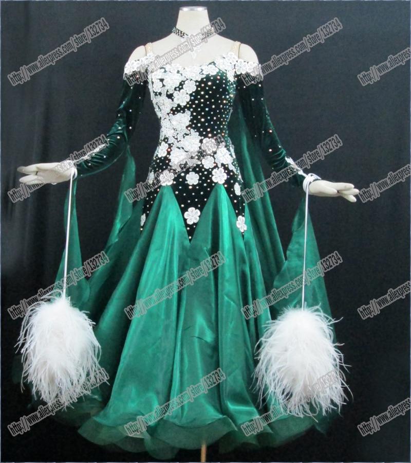 Perje moderna valčasta obleka za plesni ples Waltz Tango, gladka - Odrska in plesna oblačila