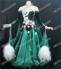 Feather Modern Waltz Tango Ballroom Dance Dress, Smooth Ballroom Dress,Standard Ballroom Dress Girls B-0016