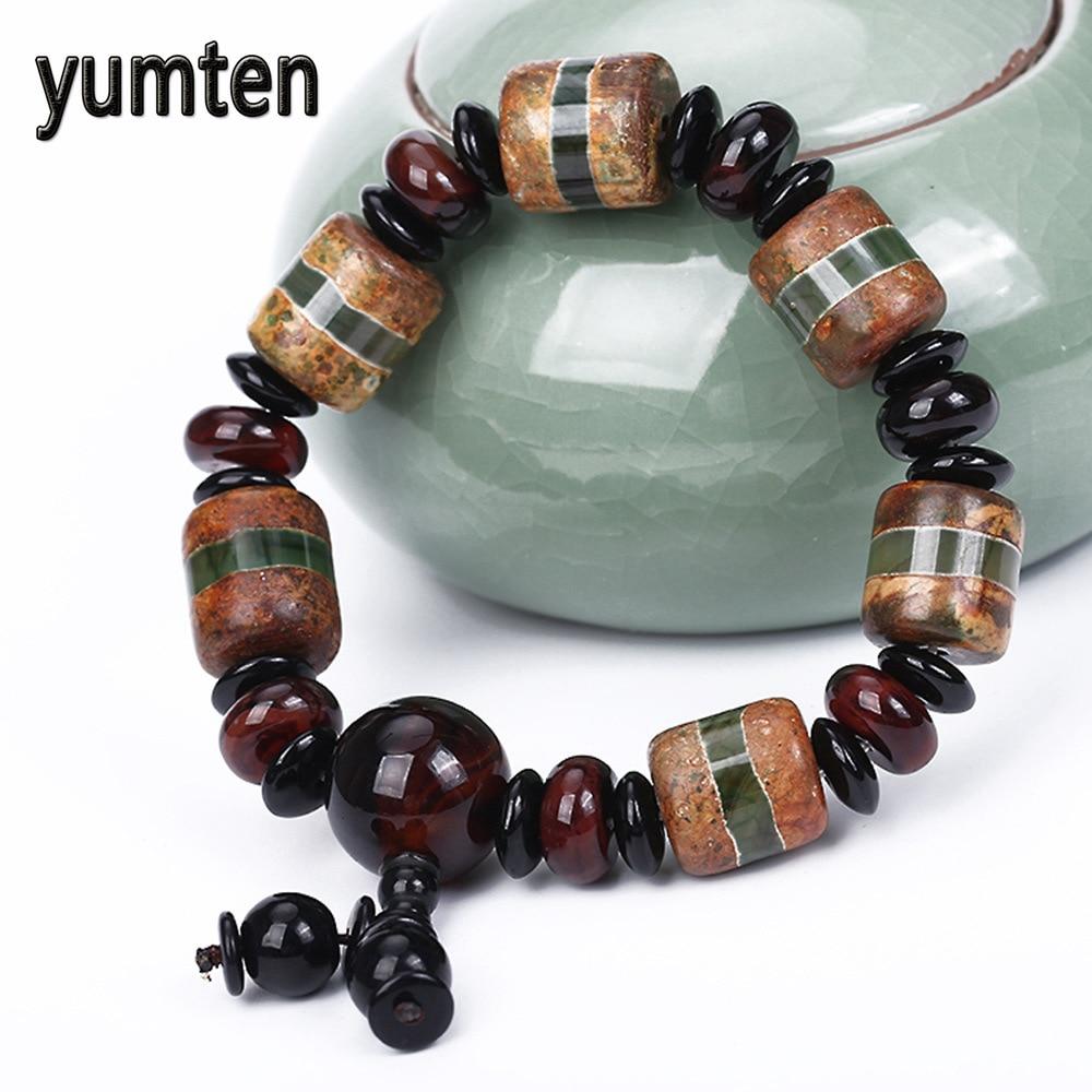 Yumten Retro Jewelry Mens Bracelet Fine Natural Agate Lucky Beads Snap Button Pulseira Bracelet Homme Carters Wholesale 5 PCS