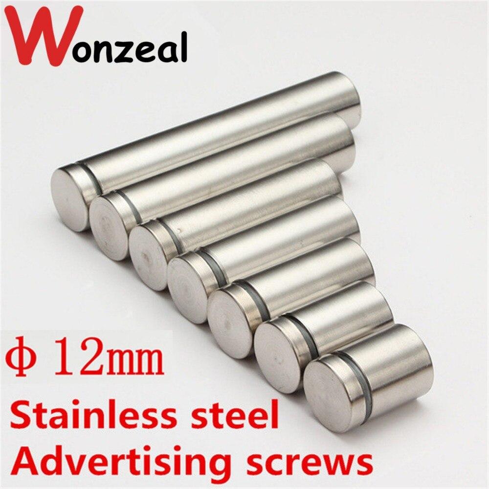 Dia.12mm/ M12 Stainless steel Advertisement Scews satin finish Fixing Screws Glass Standoff Pin dia 12mm m12 stainless steel advertisement scews satin finish fixing screws glass standoff pin