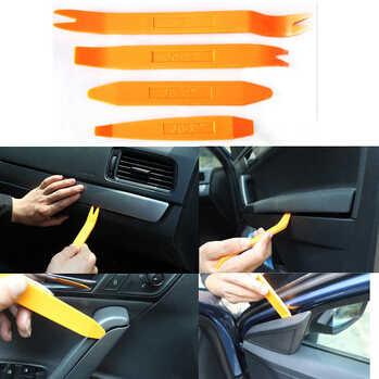 BU-باوتي شحن مجاني جديد 4 قطعة مجموعة أدوات حدق البلاستيك مجموعة باب السيارة كليب لوحة الكسوة داش الصوت ستيريو راديو تركيب إزالة