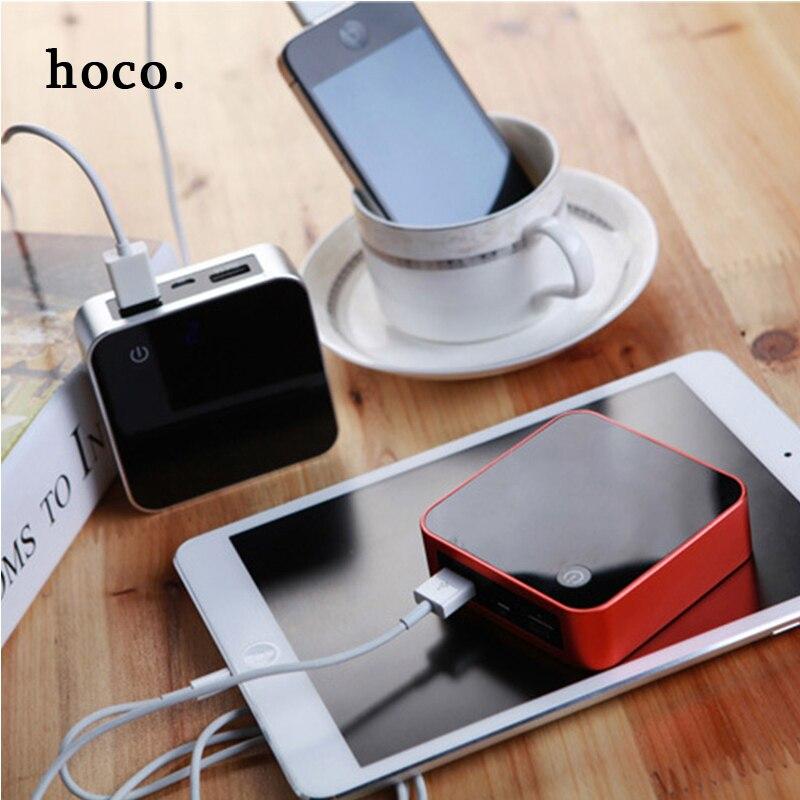 imágenes para Hoco LCD disp mini metal Portable Power Bank Cargador 8000 Externa Batería + luz led + Pantalla Digital Dual USB para el teléfono