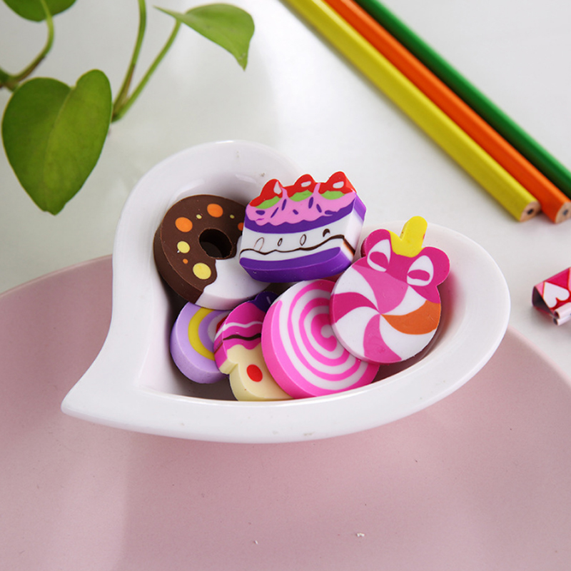 Купить с кэшбэком 6pcs/lot Cartoon Cute cake donut modelling eraser children stationery gift prizes kawaii school office supplies papelaria