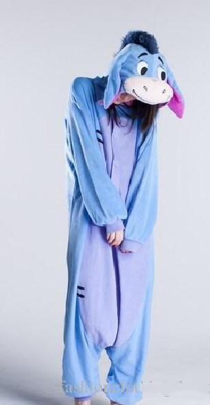 Fashion Christmas Halloween Costumes Pajamas All in One Pyjama Animal suits Cosplay Adult Flannel Eeyore Donkey Cartoon