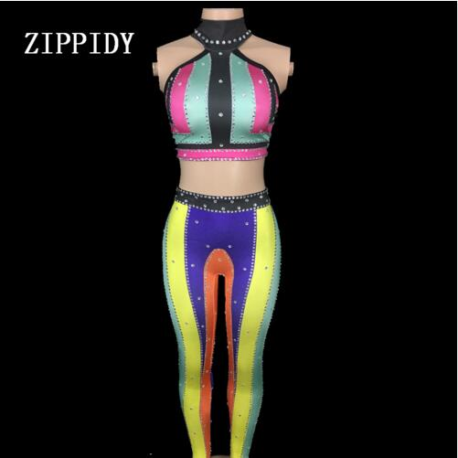 Colorful Printed Rhinestones Bra Pants Two-piece Stretch Wear Female Singer Dance Party Stage Show Costume Sexy Women's Set