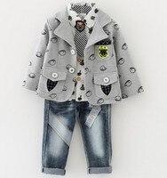 New 2015 Autumn Boys High Quality Clothing Sets 3pcs With Tie Kids Clothes Sets Boys Plaid