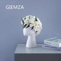 GIEMZA Large Face Vases White Head Vase Ceramic Black Open Portrait Hollow Hole Dried Flower Arrangement Vintage