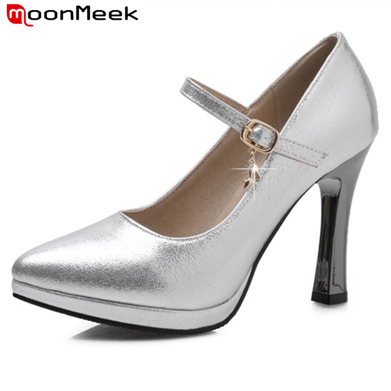MoonMeek new fashion women pumps high quality high heels shoes woman comfortable pointed toe thin heels lady wedding shoes bowknot pointed toe women pumps flock leather woman thin high heels wedding shoes 2017 new fashion shoes plus size 41 42