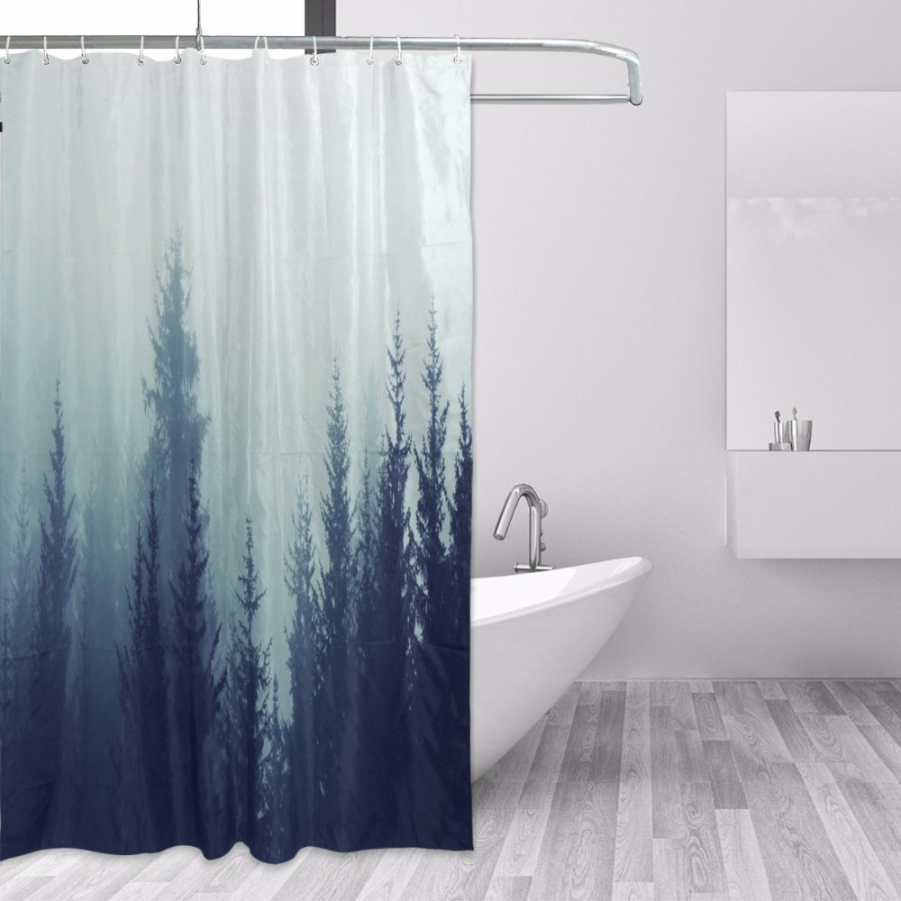 Beautiful Misty Forest Shower Curtain Polyester Fabric Printing Bath ...