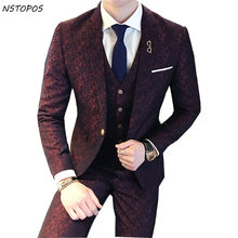 Tuxedo Paisley 3 Piece Jacquard Suit 3XLLuxury Wine Red Costume Mariage Homme Mens Suits With Pants Vintage Mens Suit British(China)