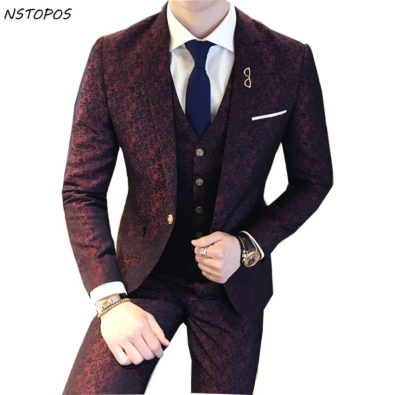 Tuxedo Paisley 3 Piece Jacquard Suit 3XLLuxury Wine Red Costume Mariage Homme Mens Suits With Pants Vintage Mens Suit British