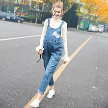 High Quality Denim Maternity Jeans Overalls Loose Adjustable Bib Pants Clothes for Pregnant Women Pregnancy Jeans Jumpsuit(China)