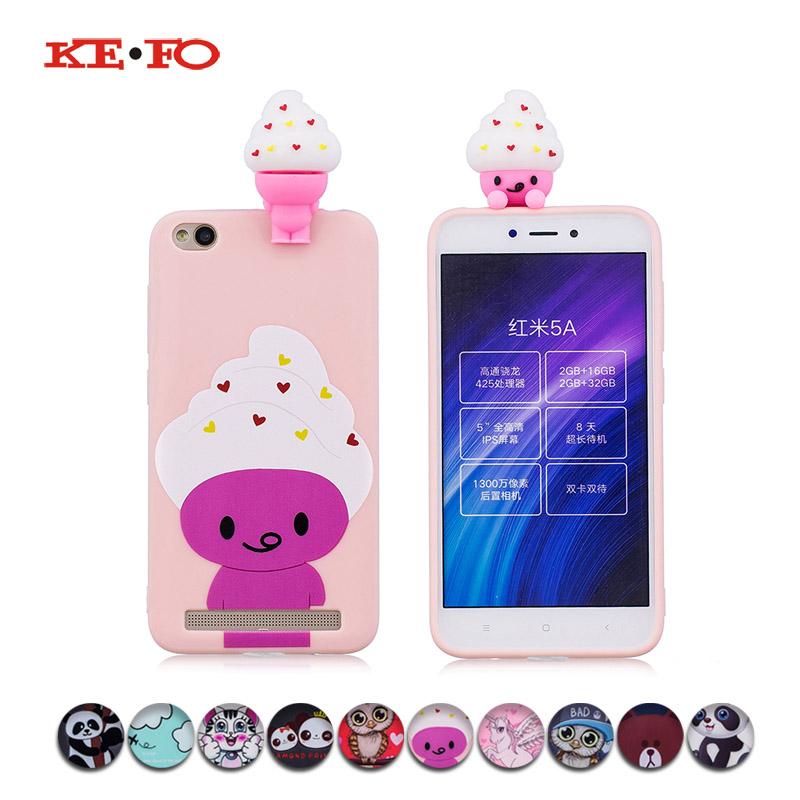 KeFo For Xiaomi Redmi 5A Note 5A Phone Cases 3D Squishy Animals Case Silicone Cover for Xiaomi Mi 5X MiA1 Mi5X  Xiaomi Mi 6X