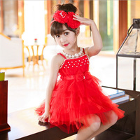 Summer Baby Girls Beach Dress Korean Style Pearl Decoration Party Backless Dresses For Girls Vintage Gauze