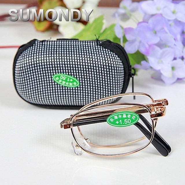 SUMONDY Brand Portable Folding Reading Glasses Men Women Anti Fatigue Foldable Presbyopic Eyewear Alloy Frame Magnifier UR03