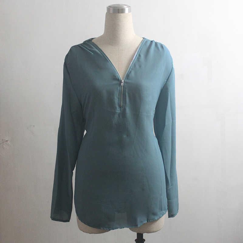 シフォンブラウス女性カジュアル V ネック長袖オフィスシャツエレガントな春夏ブラウス基本トップス Tシャツチュニック Blusa Feminina