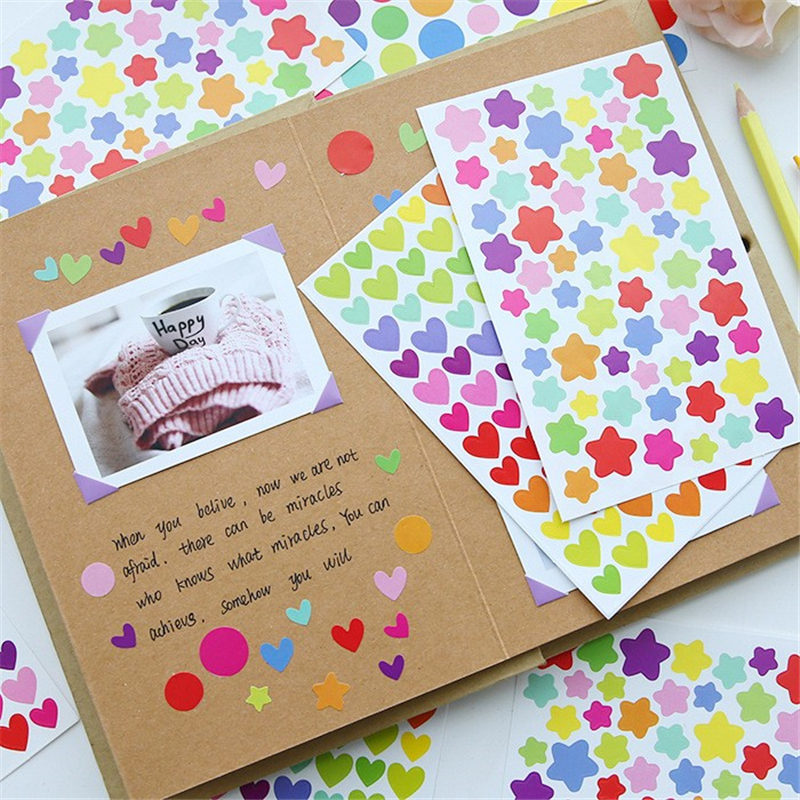 Office & School Supp. ... Stationery Sticker ... 32719063513 ... 4 ... DIY Cute Kawaii Colorful Paper Sticker Lovely Heart Decorative Adhesive Stickers For Kids Gift Scrapbooking Diary Decoration ...