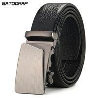 Genuine Leather Men Belts Luxury Black Brown Formal Business Solid Strap Male Automatic Buckle Designer Belts