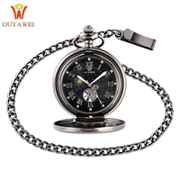 OUYAWEI 2017 Vintage Pocket Watch Black Case Hollow Dial Moon Phase Function Hand Wind Mechanical Fob