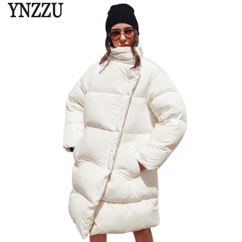 Luxury 2018 Winter Jacket Women Casual White Mid-Long Duck Down Coat Jacket Loose Thicken Stand Collar Warm Outwears AO680