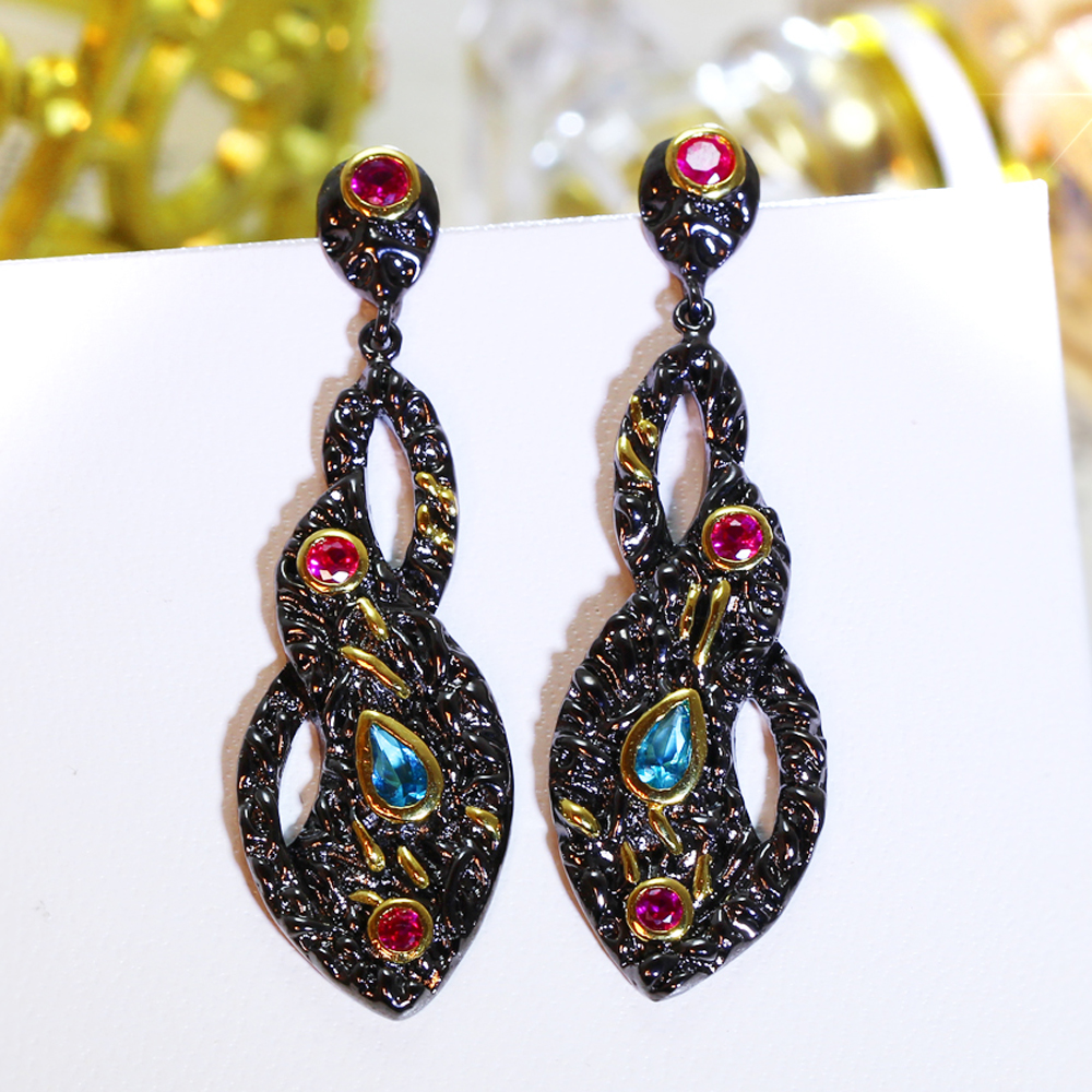 Multi color stone earings jewelry New 2 tone black gold ...