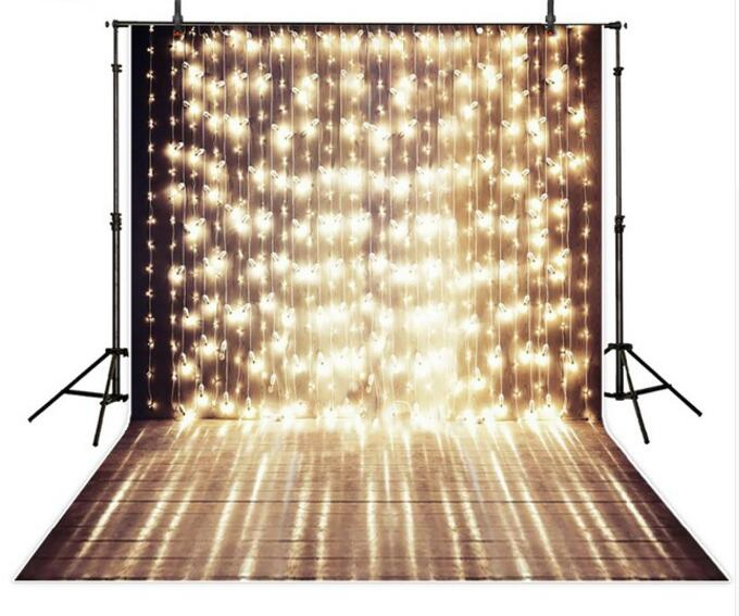 5x7ft Shiny Stage Vinyl Photography Background a string of festive lights Wedding template Background for photo studio CM-6904