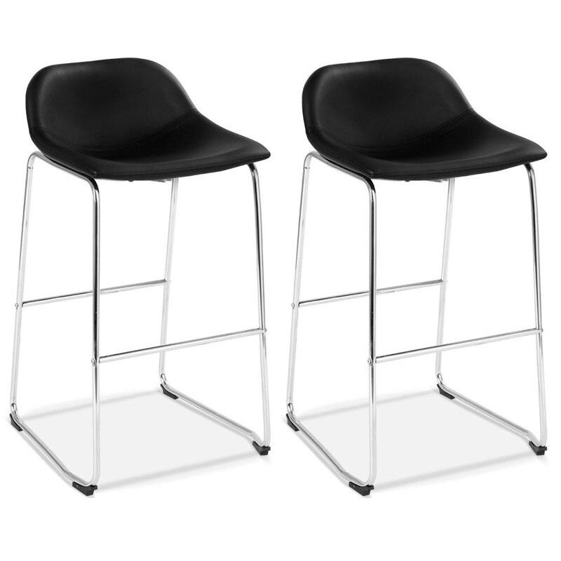 Ensemble moderne de 2 tabourets de Bar en cuir PU tabouret de Bar à manger chaises latérales meubles de haute qualité HW58846