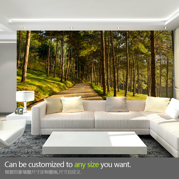 Buy free shipping forest idyllic natural for Scenery wallpaper for living room