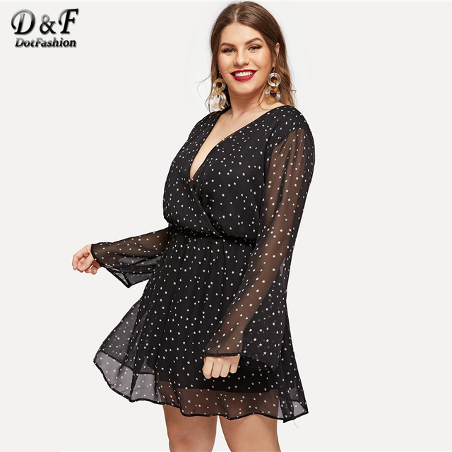 Dotfashion Plus Size Black Surplice Neck Dot Dress Women Autumn 2019 Clothes A Line Casual Spring Knee Length High Waist Dress 4