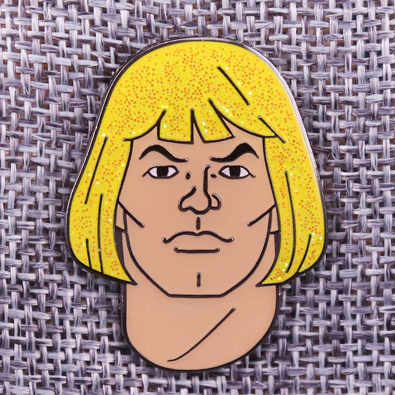 Meesters Van Het Universum He-Man Badge Fabulous Secret Power Glitter Pin Retro 80S Cartoon Broche