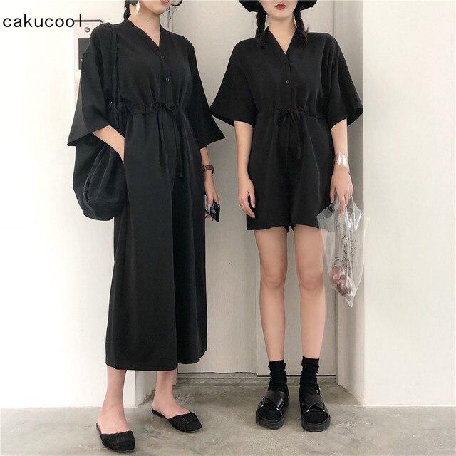 4f527bbac29 Cakucool Women Casual V-neck Jumpsuit Overalls Korean Long Sleeve Empire  Wide Leg Pant Playsuit Jumpsuits Rompers Femme Black