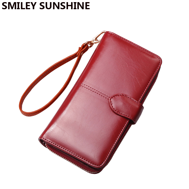 Las mujeres grandes carteras rojas Wristlet moda titular de la tarjeta carteras y monederos largo de lujo niñas carteras embrague femenino bolsillo del teléfono móvil