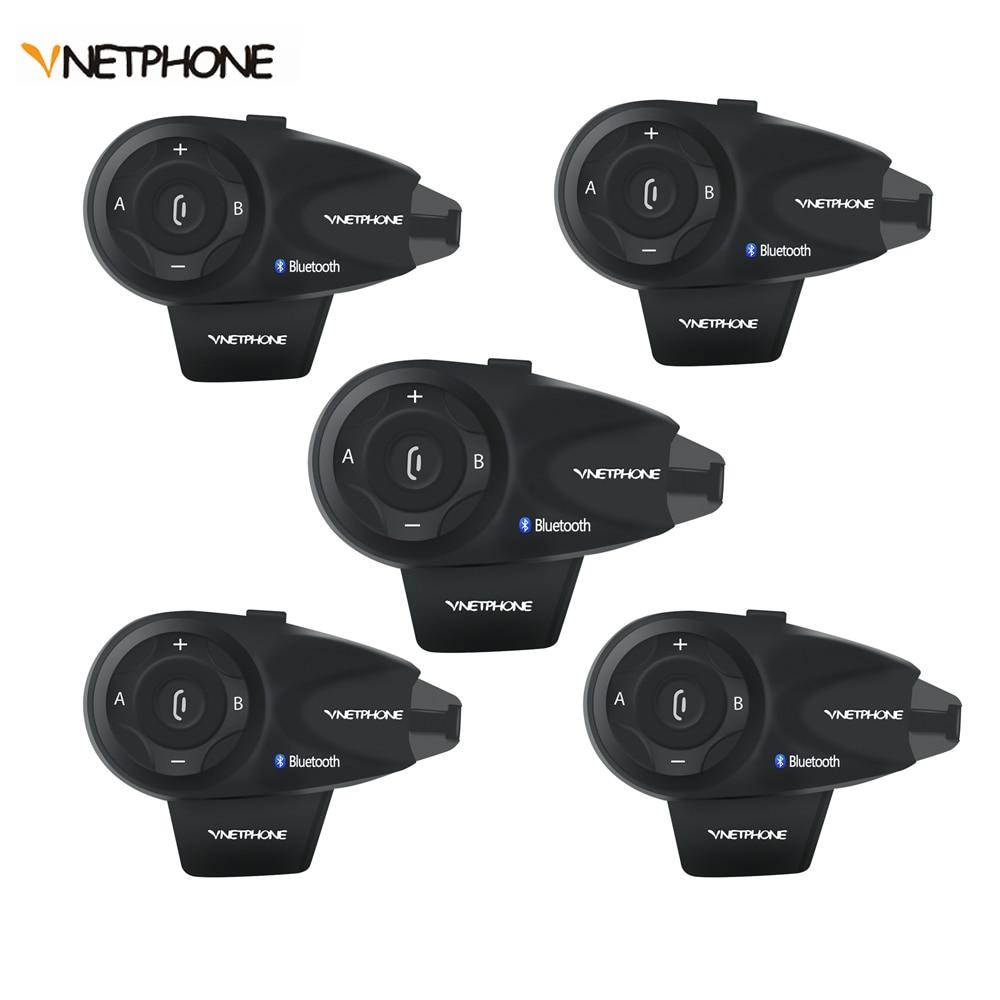 Vnetphone Bluetooth Intercom Full-Duplex Noise-Control V5-1200M Waterproof 5-Riders Ce