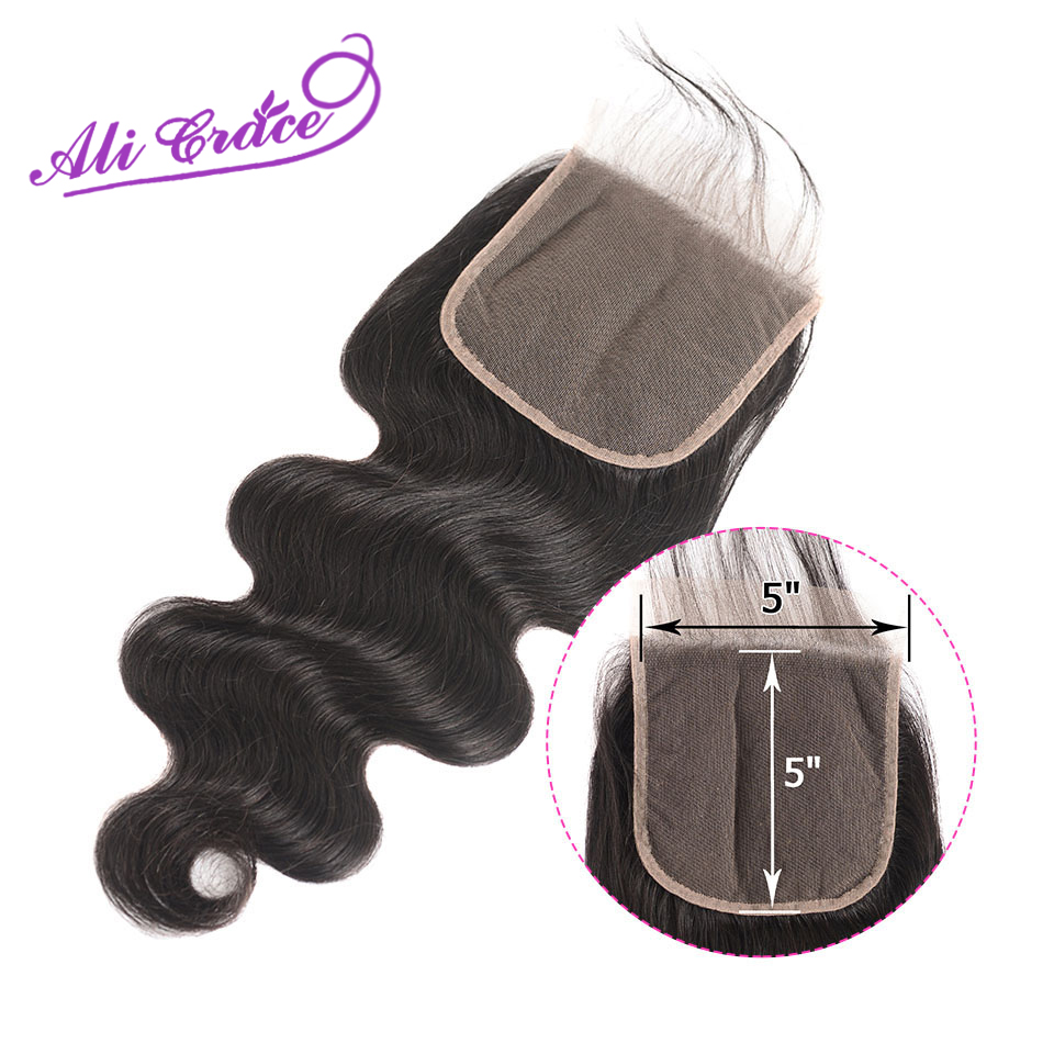 Ali Grace Hair Peruvian Body Wave 5*5 Lace Closure Pre Plucked With Baby Hair Closure Swiss Lace Human Remy Hair-in Closures from Hair Extensions & Wigs    1