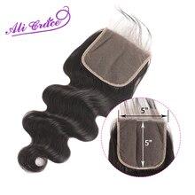 Ali Grace Hair Peruvian Body Wave 5*5 ปิดลูกไม้ Pre Plucked ผมเด็กปิดสวิสลูกไม้ remy ผม